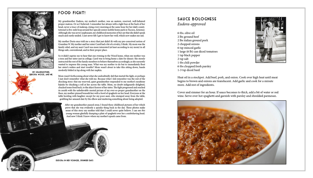 Here's an example of how I took a family story and added photos and a recipe of my own.