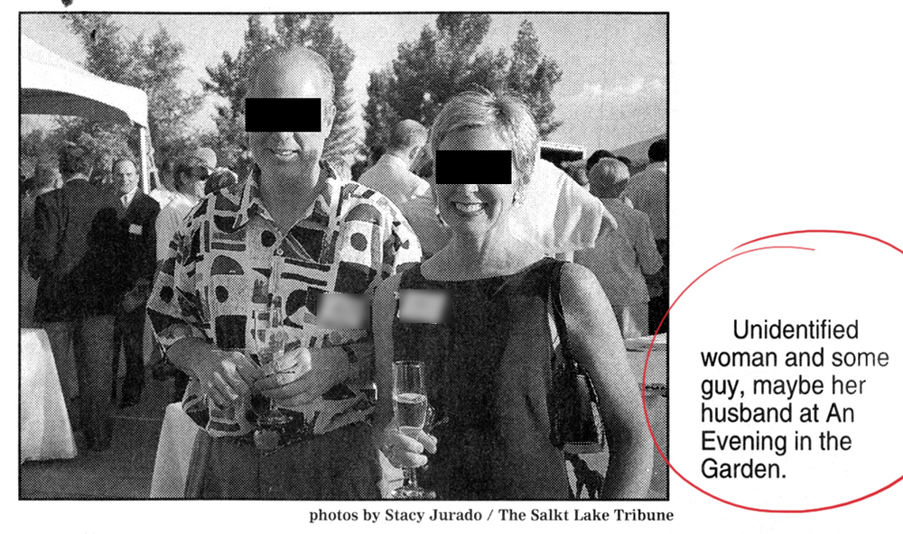 "Not a good caption: ""Unidentified woman and some guy, maybe her husband."" (I won't even call your attention to the typo in the photo attribution or the lack of a comma after ""husband."") I blacked out the faces just in case these people want to remain unidentified, or if it isn't her husband after all."