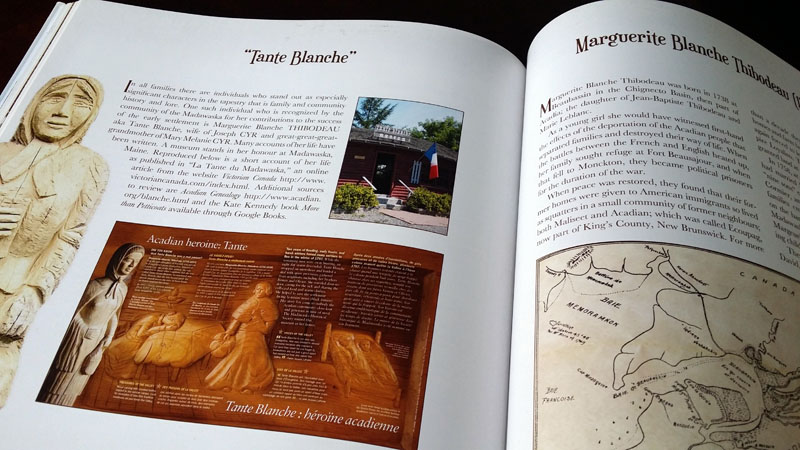 "Our client's ancestor, ""Tante Blanche,"" is honored among Acadians for her heroic deeds during a famine of 1797. There is a museum dedicated to her in Maine."