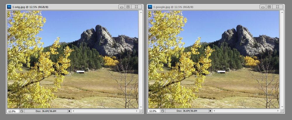 This is a phone snap from a recent trip. The original 10 MB file is on the left; the compressed 4 MB file in Google Photos is on the right.