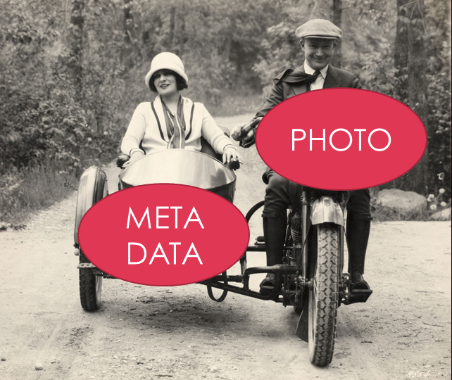 Think of your photo as the motorcycle. Metadata is digital information (date/location, descriptions, captions, keywords, copyright, and contact information) that rides along with the photo as it travels.