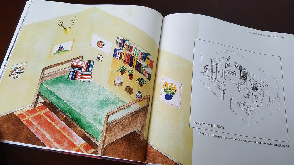 Eveline drew pictures of her childhood room (also the kitchen) in Frankfurt after the war.