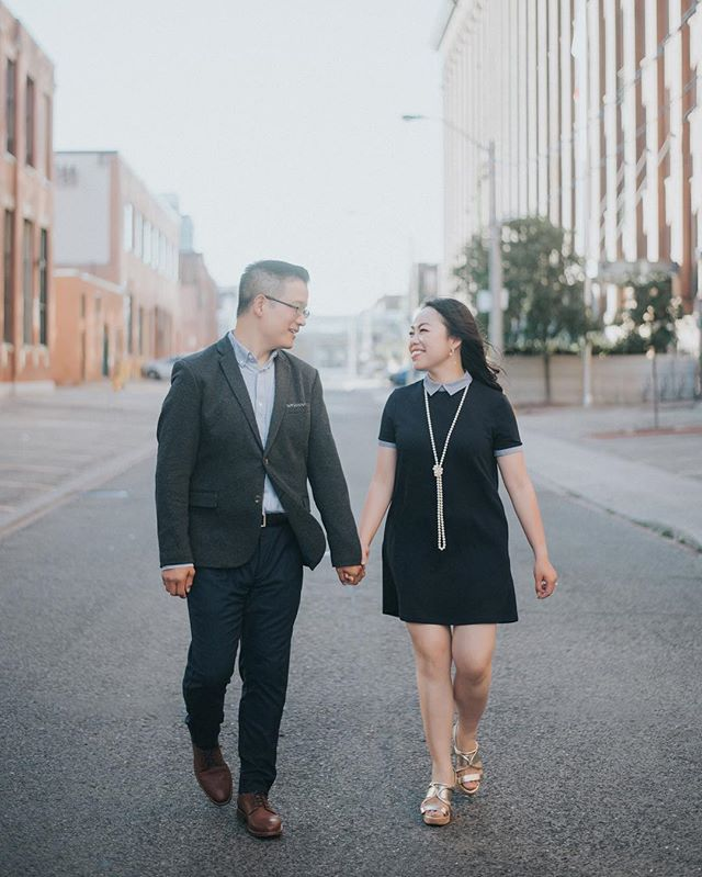 Sneak Peek Photo from Helena & Theo's Toronto Downtown Engagement Photoshoot. Anyone like the old Toronto better? #oldtoronto #libertyvillage