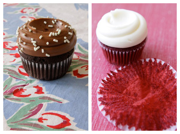 Left to right: Classic Chocolate , Red Velvet with Cream Cheese frosting on the right, hi old friend!