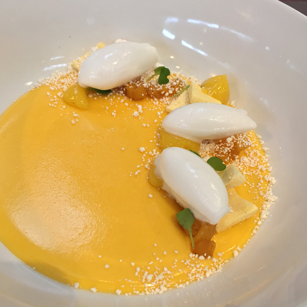 Plating desserts: Mango custard with coconut sorbet
