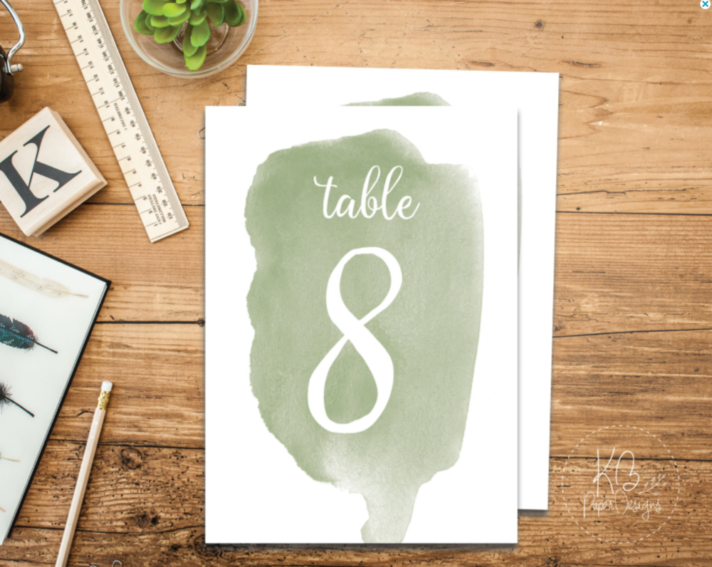 Watercolor Numbers - A popular item in my store, it's an instant download and customers can have their files in a matter of minutes!