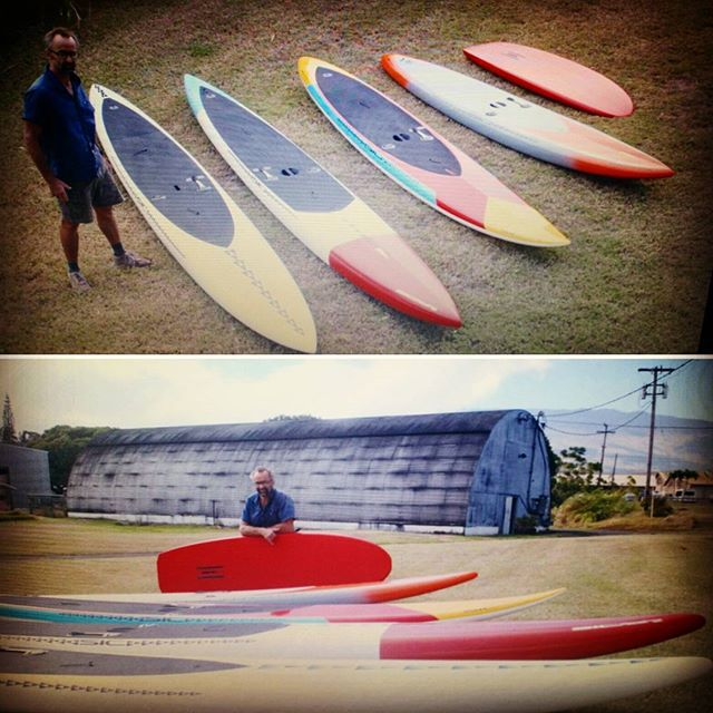 @markraaphorst  showing us some of the latest @sicmauicustom boards coming out of the shop.  Bayonet 18 Bayonet 17 F 16 Bullet 14 And his personal Custom Foil board.  Which one is your favorite @sicmaui  board??? #BoundByWater #custom #madeonmaui #sup #customsup #