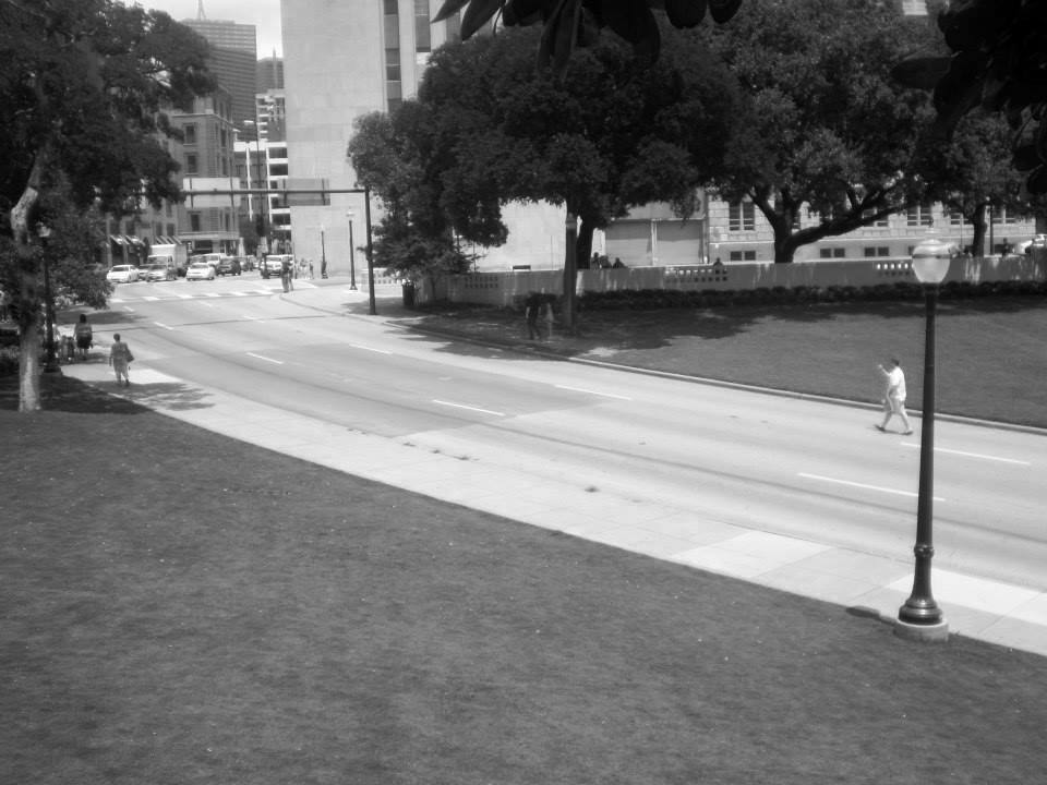 Photo 33- View from Abraham Zapruder's perch 2 B&W.jpg