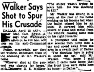 Edwin Walker Quoted in the pRess discussing the attack