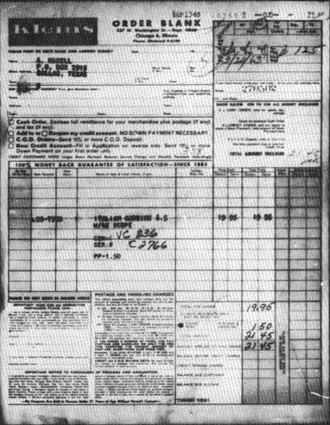 THE CARCANO ORDER FORM SENT BY A. HIDELL THAT LISTS P.O. BOX 2915 as the RECIPIENT'S Address