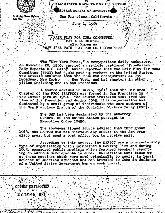 An FBI Memo discussing Member and non Member ASSOCIATED FPCC Groups