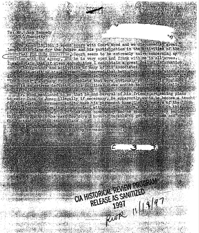 A document notes the meeting of an unnamed CIA employee collecting intelligence from an FPCC member