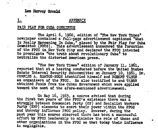 FBI Memo Regarding the FPCC's Founding Announcement