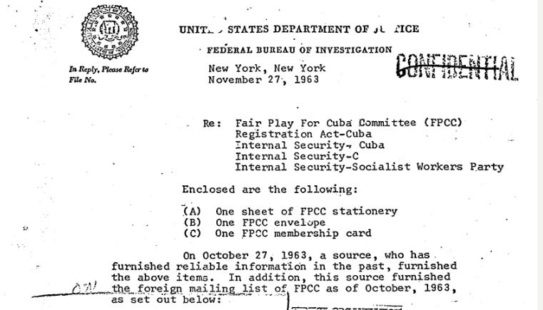 The FBI Secured FPCC Stationary ANd ITS Foreign Mailing LIst