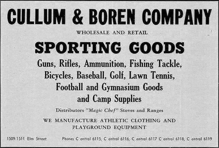 A FLYER ADVERTISING THE DALLAS CULLUM & BOREN SPORTING GOODS STORE
