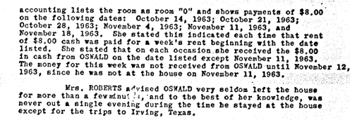 A POrtion Of Earlene Roberts Statement That SUPPORTS OSWALD WAS NOT in Mesquite