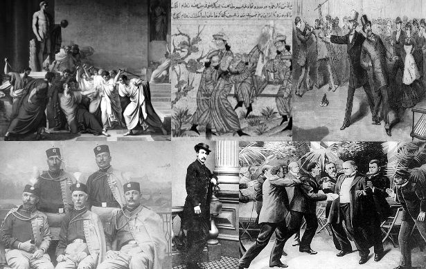 (From Top Left to RIght) The Assassination OF Julius Cesar, A HasHAsHHIN (MidEAST Assassins) Ceremony, US President James Garfield's Assassination, (Bottom Left to Right) The Serbian Black Hand Society, John Wilkes Booth the Assassin of US President Abraham Lincoln, THe Assassination of US President William McKinley.
