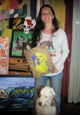 Me in a previous art studio with some of my art and former model 'Ozzy'
