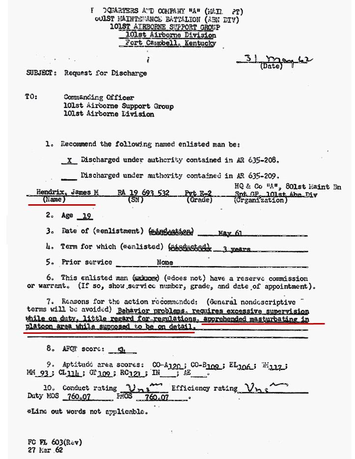 Original Dokument -Entlassung Jimmy Hendrix aus der US Armee- 27. März 1962