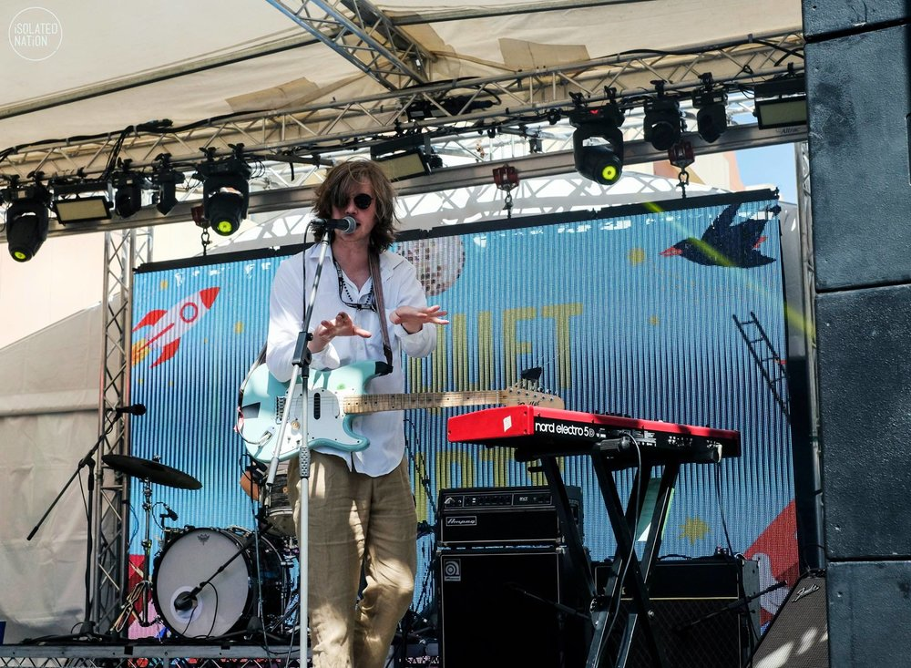 Austin of Parquet Courts looking like a Dad on a tropical holiday