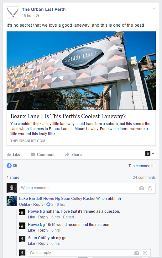 The answer to the question is no. Beaux Lane is not Perth's coolest laneway. End of story