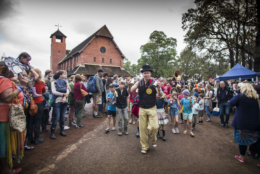 The Fairbridge Parade romps through the foreground with the Chapel towering overhead Photo by Raw Image
