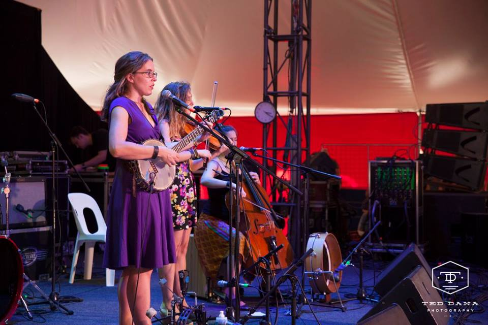 Harpeth Rising playing the Djindalux tent Photo by Ted Dana