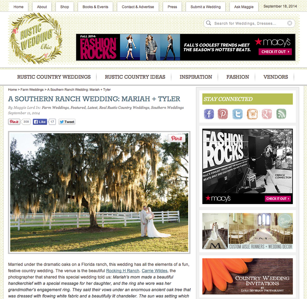 Mariah & Tyler Featured on Rustic Wedding Chic — carrie wildes ...