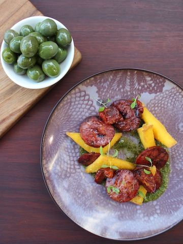 Sicilian olives and chorizo polenta
