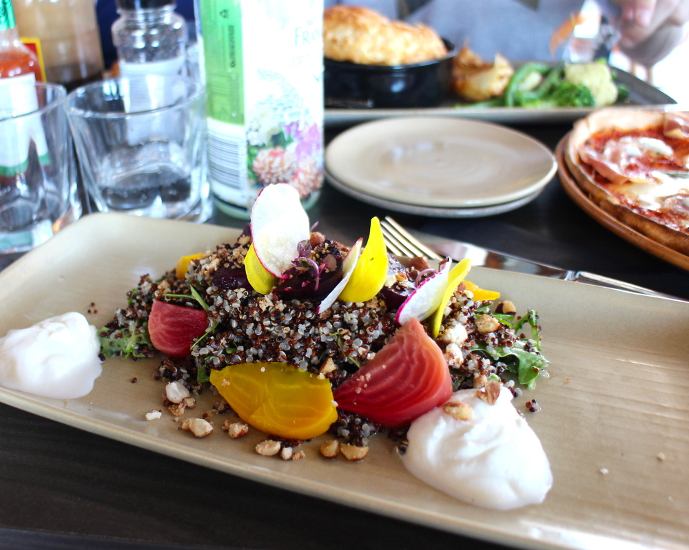 Roasted beetroot, quinoa, roasted sandalwood nuts, goats curd and lemon