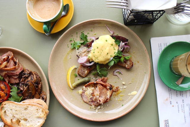 Bratwurst hollandaise is a pretty plate of streaky bacon, sauerkraut, shaved parmesan, gherkin, poached egg and greens for $16.80. I ordered mine sanstoast which is my idea of starting to watch what I eat in the new year (note I still had the hollandaise!)