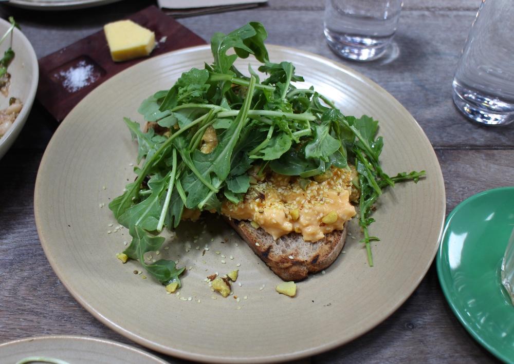 scrambled organic eggs and toast, hazelnut duke, rocket
