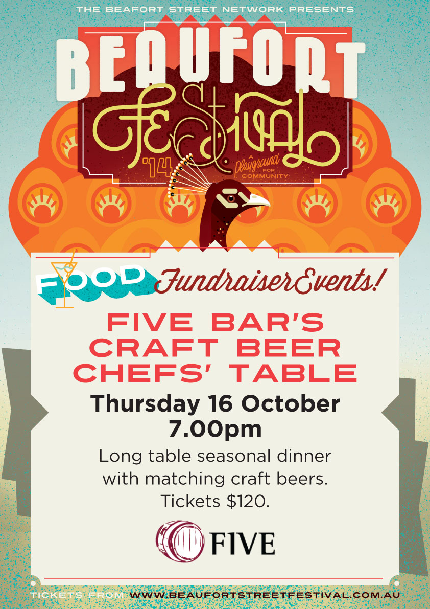 An amazing evening in Five Bar's garage where the chefs battled it out course for course and beers provided by Homestead Brewery and Eagle Bay Brewing Company.