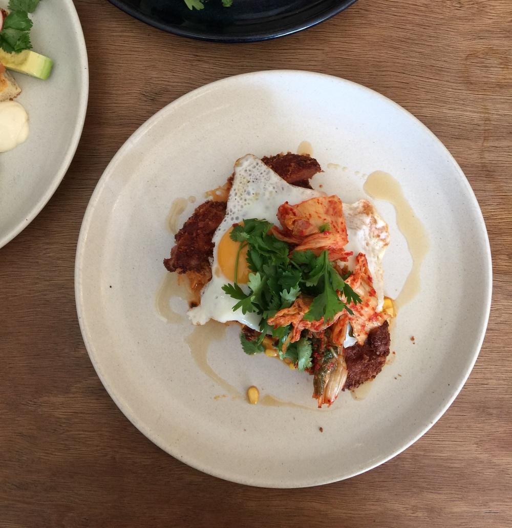 Pork snitzel creamed corn kimchi egg