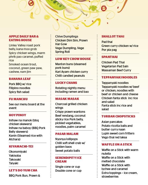 Night Noodle Markets menu food stalls