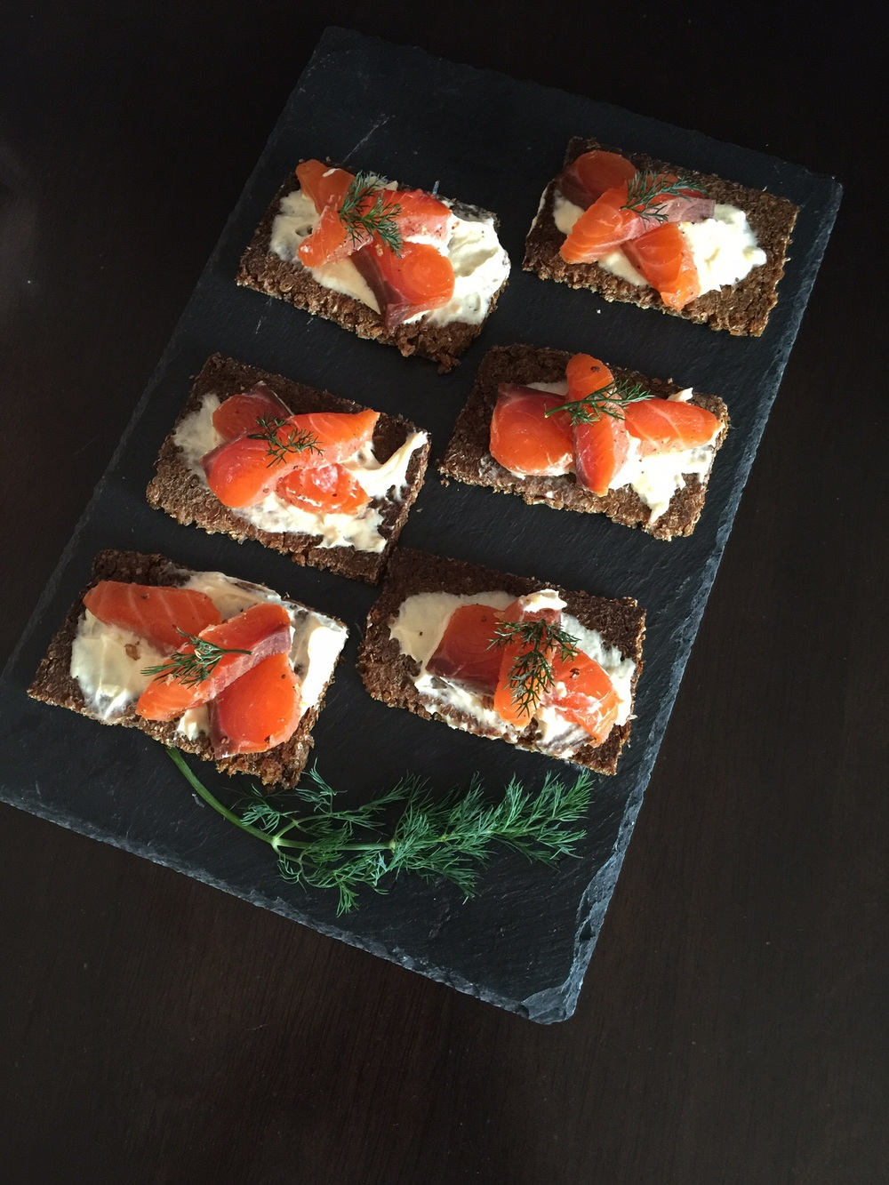START | gin cured salmon on pumpernickel and creme fraiche
