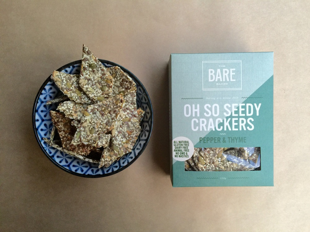 Vegan and gluten free Oh So Seedy Crackers by  The Bare Baker