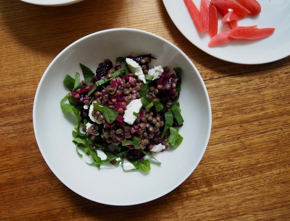 Beetroot with lentils and goat curd