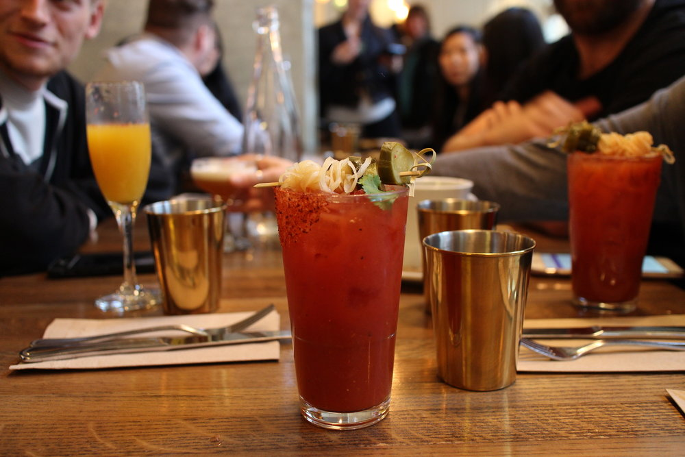 Moroccan Maria | Reposado tequila, fresh tomato juice, celery bitters, fresh lime juice, house spice mix, pickles