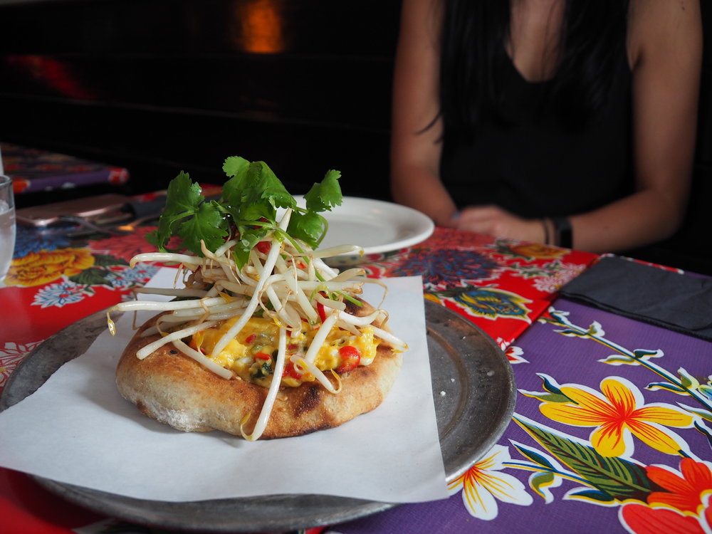 Vietnamese scrambled eggs on flatbread