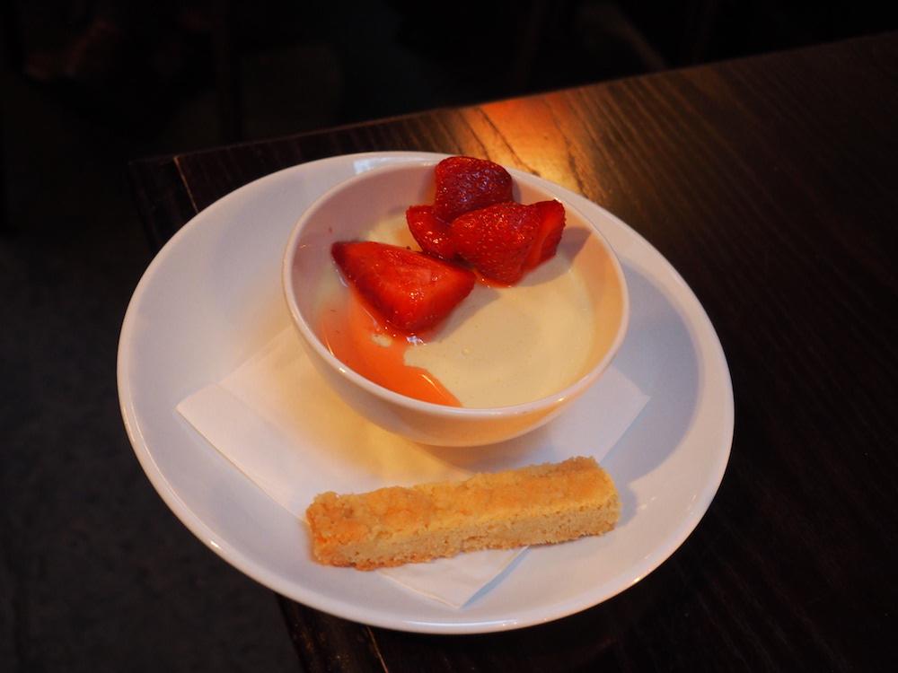 Lemon Verbena Posset, Kentish strawberries and shortbread