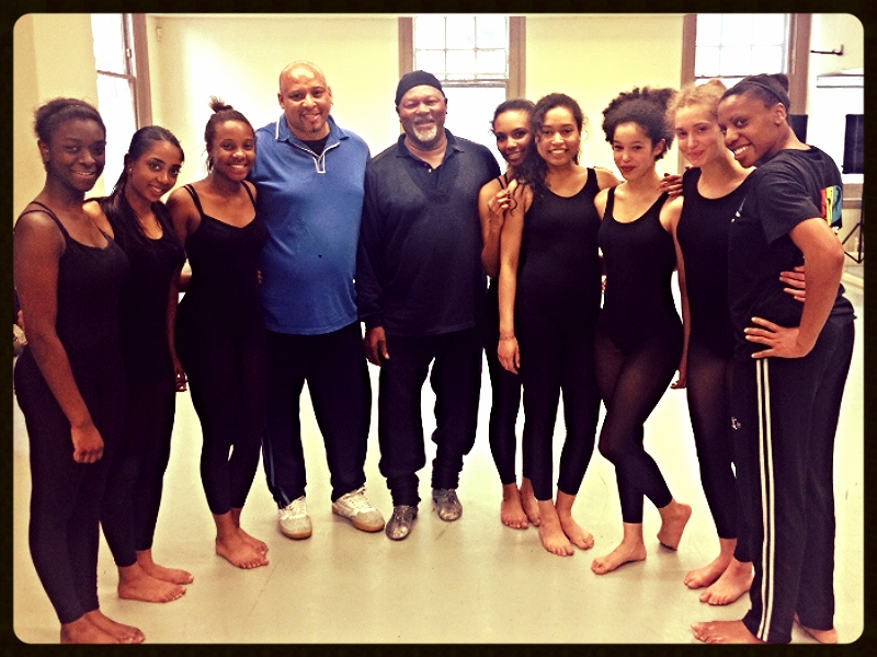 The dancers with Namron, OBE, and drummer, Charles