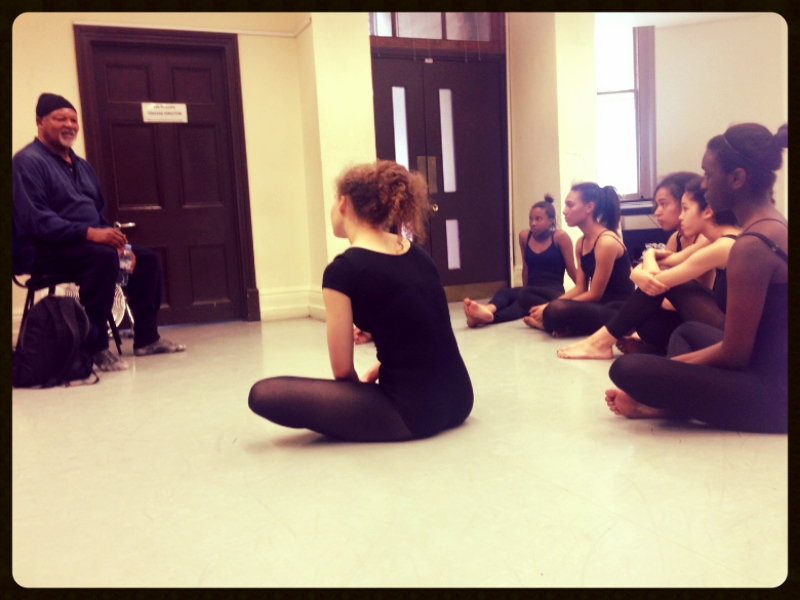 The dancers listening to Namron's post workshop talk and discussion