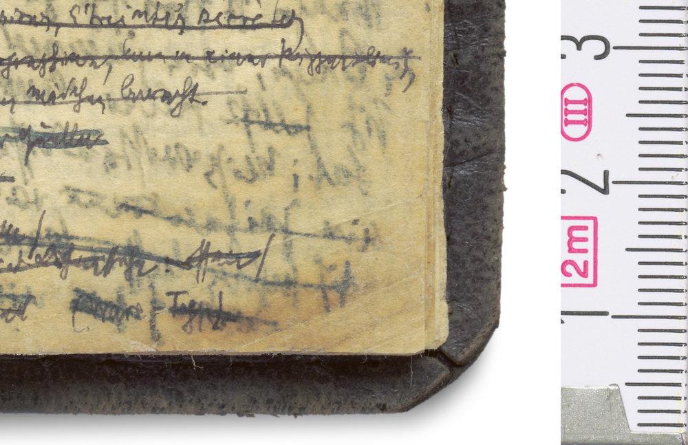 Detail – Erste Notizen zu Pariser Passagen (1927) aus Walter Benjamins Blauem Notizbuch © Hamburger Stiftung zur Förderung von Wissenschaft und Kultur