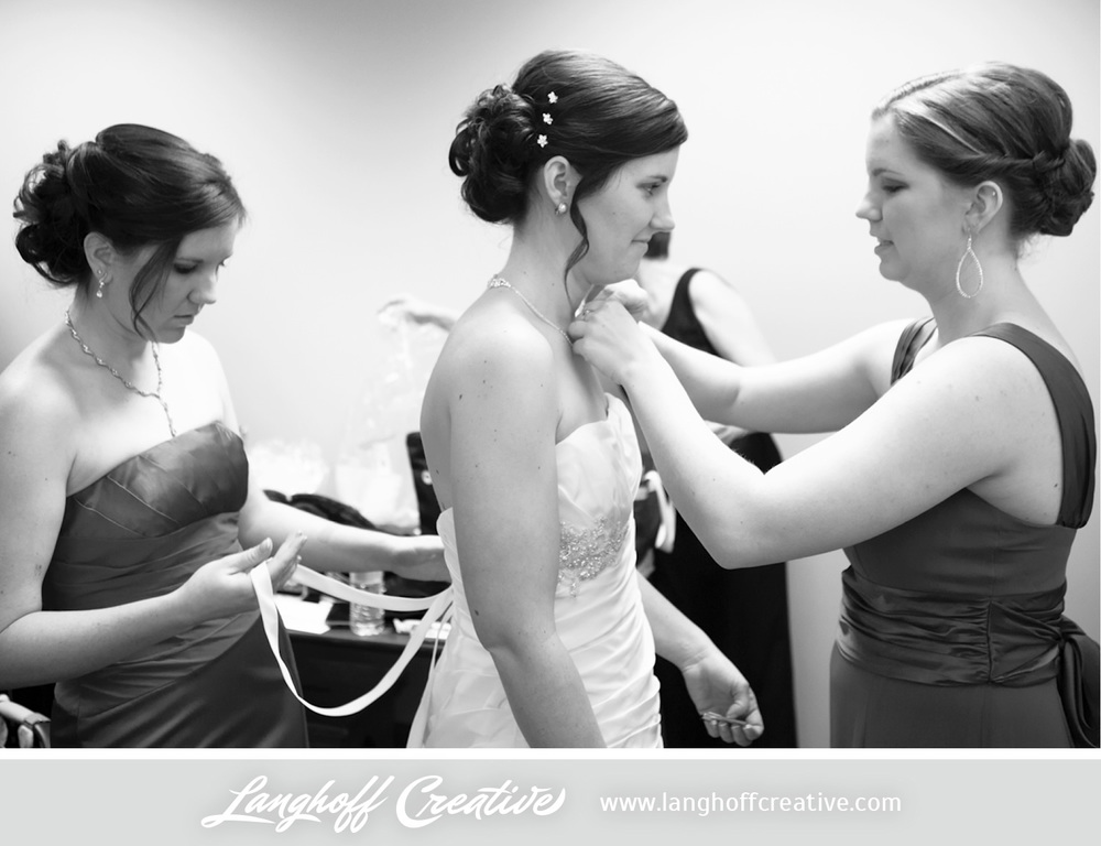 Two of the Bride's sisters, Kathleen and Rachel, prepped Julie for her walk down the aisle.
