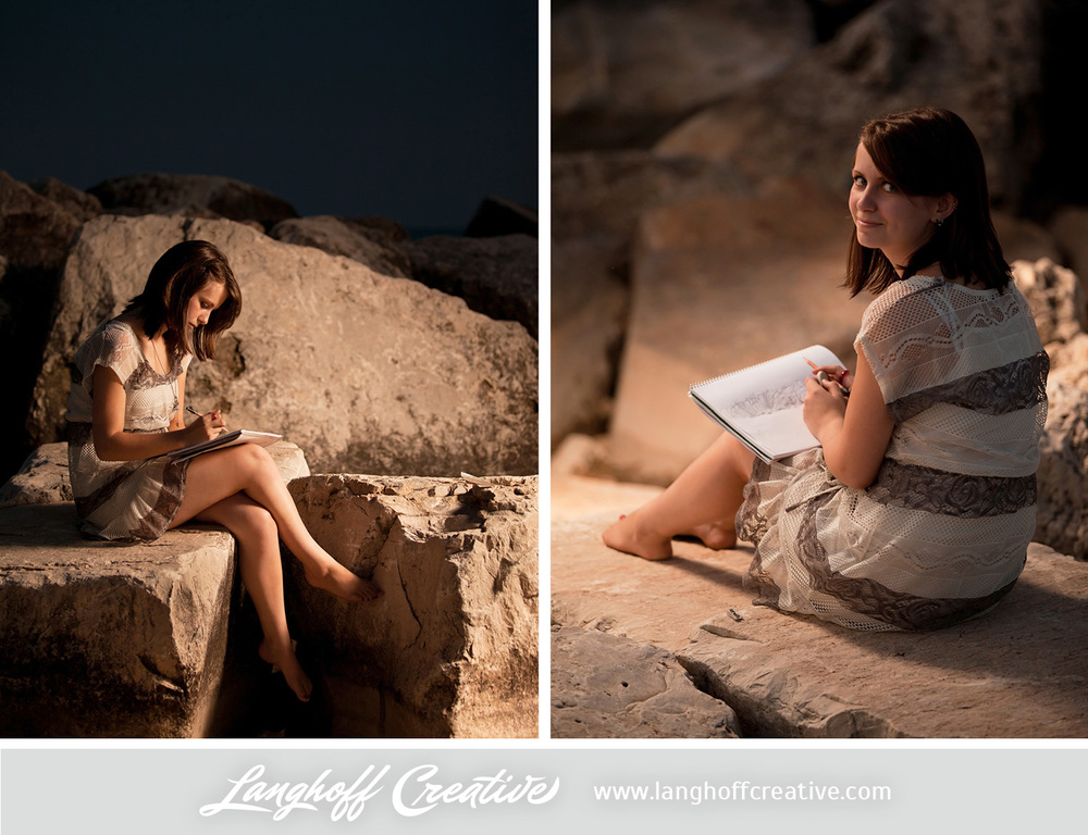 As you can tell, fine arts are definitely her thing. Sam absolutely loves drawing and painting, too. These are my favorite shots from the entire session! The boulders down by Lake Michigan and the setting sun made for a perfect, serene backdrop.