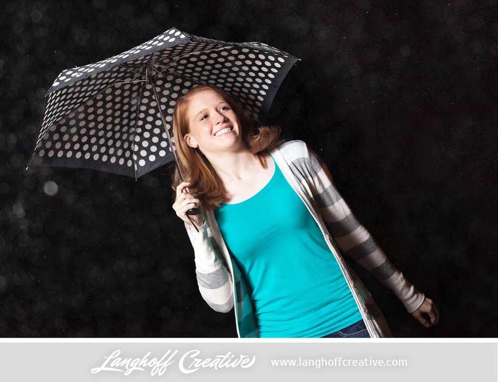 Megan, thanks for the opportunity to play in the rain with you! This shoot will remain one of my favorites. I admire your bold faith, positive outlook in life and your ability to roll with any situation, making it memorable. I'm going to miss seeing your pretty face around here all the time, but I can't wait to hear about all of the adventures coming your way in college.   Look out, Evangel, this girl is taking the world by storm. Success is the forecast. Have a blast, Megan!