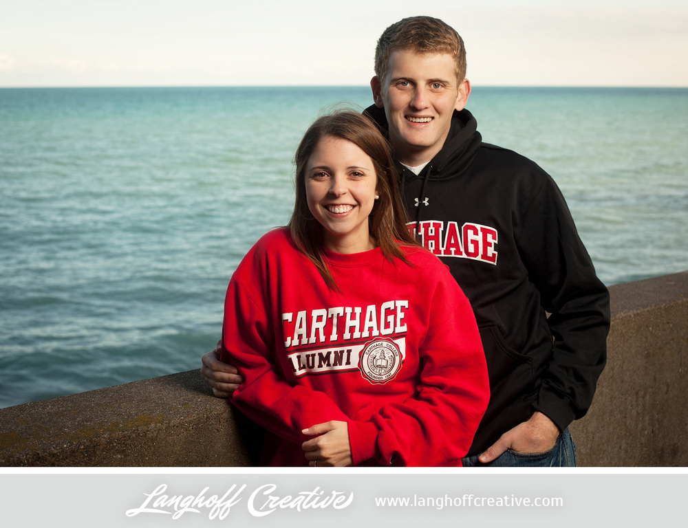 """It wasn't until the last month of our senior year that we actually met and started dating,"" said Spencer. A mutual friend of theirs at Carthage introduced them, so it was neat to head back to the campus for a few of their engagement shots."