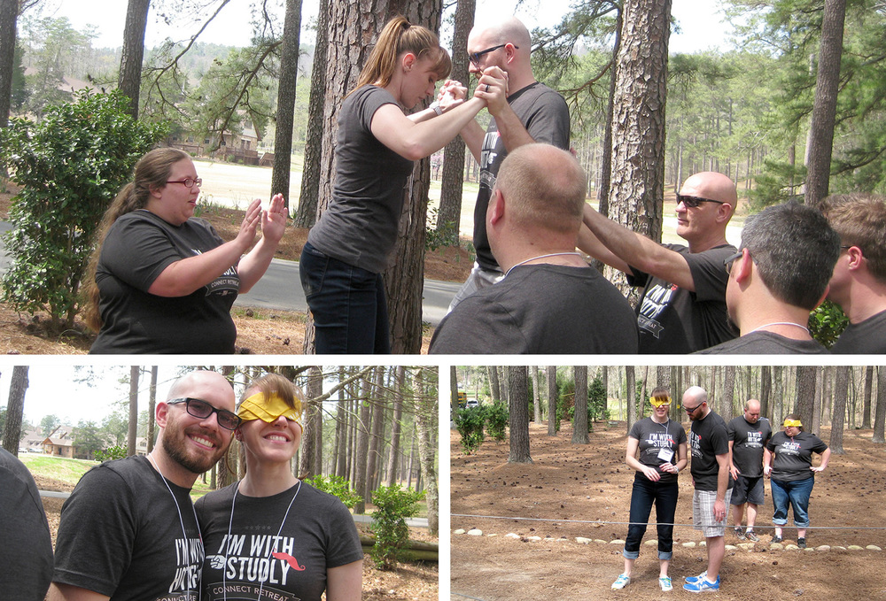 Photo credit: Melanie of Studio Elle  We also took turns at the low ropes courses practicing patience, timing, communication and trust. Experiential activities like this are a fun way to approach these topics and learn about ourselves and each other. Priceless!