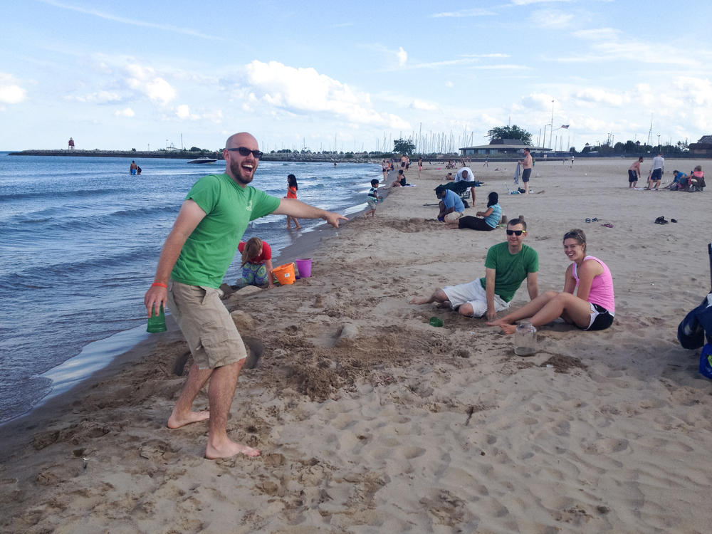 An impromptu beach day at North Beach in Racine over Labor Day weekend was perfect: bocce ball, sand castles and picnic food with silly friends.